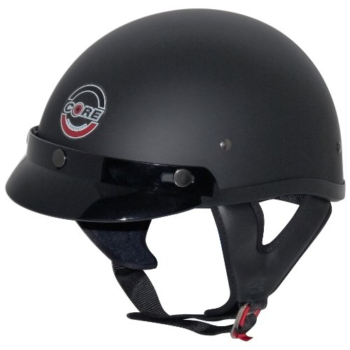 Core Cruiser Shorty Half Helmet (Flat Black, Large)