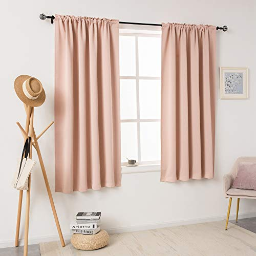 DUALIFE Blush Pink Curtains for Bedroom Short Windows 54 Inch Length Thermal Insulated Curtains Room Darkening Drapes Soundproof Curtain Panels for Living Room Rod Pocket 2 Panels 42x54 Inch