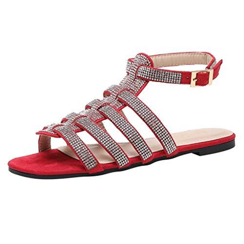 i-uend Damen Breite Rutsche Sandalen - Schnalle Slip On Flat Open Toe Strass Casual Sommerschuhe