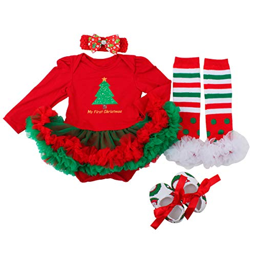 Slowera Baby Girls Christmas Outfits Clothes Red Green Trees 3-6 Months