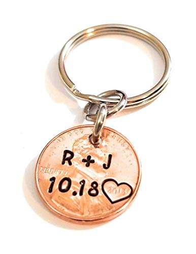 Personalized Lucky Copper Penny Key Chain with Date Initials and Heart Around Year