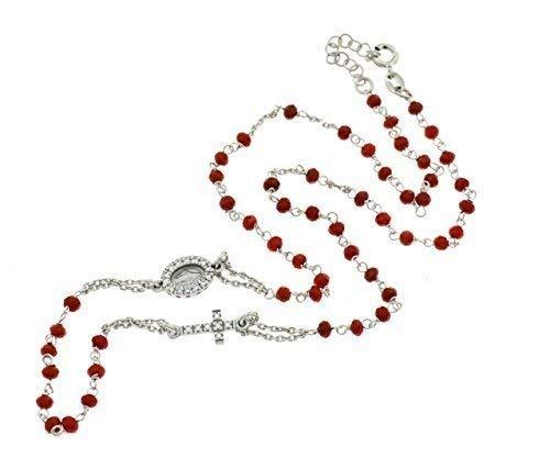 Rosario Gargantilla con piedras rojas sfaccettate, miracolosa y Cruz zirconato de plata 925Sterling chapado en oro blanco, longitud 50cm