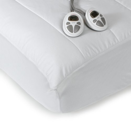Sunbeam Imperial King Heated Mattress Pad, 140-Thread-Count Poly/Cotton, White