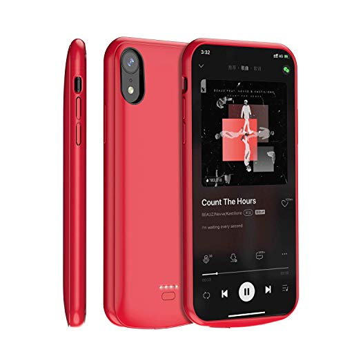 TAYUZH Battery Case for iPhone XR, 5000mAh Slim Magnetic Portable Extended Charging Case Rechargeable External Protective Battery Charger Case for iPhone XR Compatible Lightning Headphones - Red