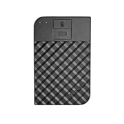Verbatim Fingerprint Secure I 2 TB I Schwarz I Externe Festplatte mit Fingerabdruckscanner I USB 3.1 GEN 1 I Festplatte extern I für Windows & Mac OSX I tragbare Festplatte I USB Festplatte