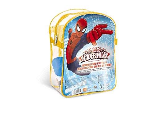 Mondo- Mochila Playa Spiderman con Cubo, Regadera, Palas Y Moldes, Multicolor (28266)