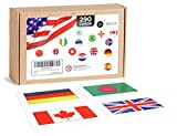 Briston World Country Flags Flash Cards Set + U.S. States (290 Glossy Laminated Cards)