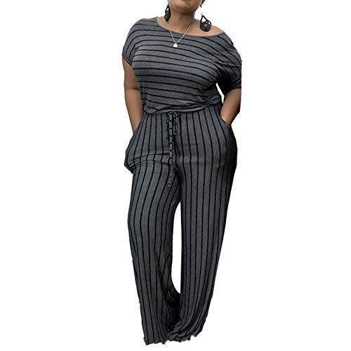 IyMoo Women's Sexy Plus Size Short Sleeve Drawstring Waist Wide Leg Jumpsuit Romper with Pockets Gray 2XL