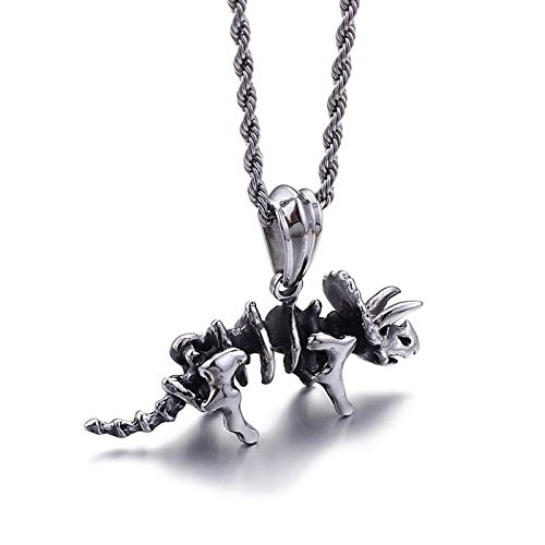 Beydodo Edelstahl Kette mit Anhänger Triceratops Halskette Männer Freundschaftskette