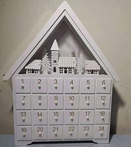 XINSO アドベントカレンダー 24日間カウントダウン 木製 白い家 小さな引き出し LEDライト付き クリスマス...