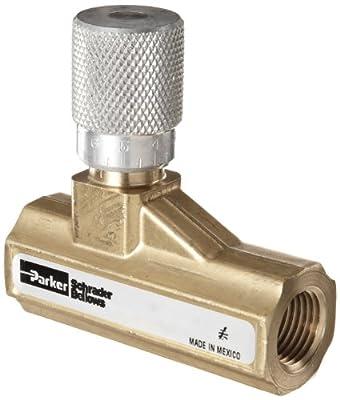 """Parker 003381103 338 Series Brass Needle Valve, 1/2"""" NPTF, 250 psi by Parker"""