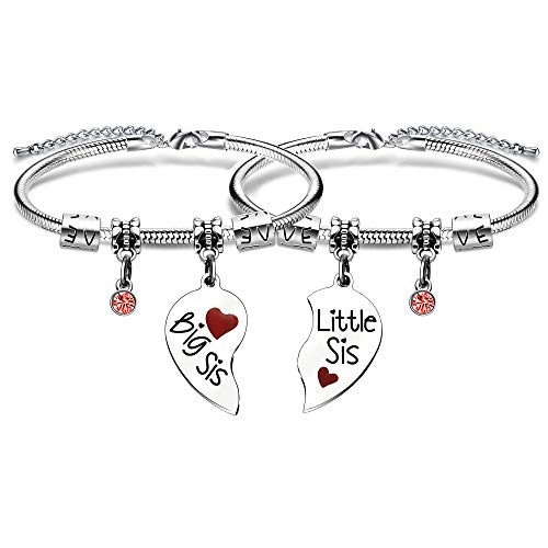 BHXRODE 2PC Sister Bracelet Set Twins Big Little Sis Bangles Adjustable Birthday Gift Heart Puzzle Charm Jewellery Lucky Birthstone for Women