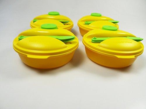 TUPPERWARE To Go Salat&Go 1,0L grün gelb (6) Picknick Behälter+Besteck Salat P 22875