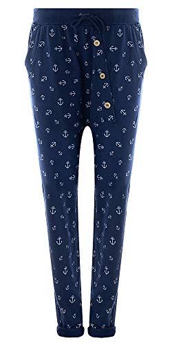 Eitex Damen Jogginghose Sweatpants mit Sternen Anker Camouflage und Uni Farben (38/40, Anker blau)