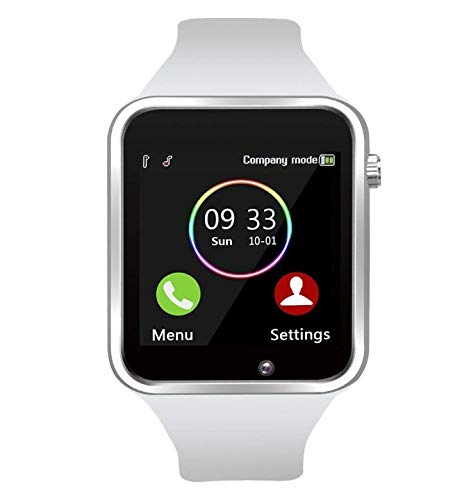 MY TECH Smart Watch Bluetooth Fitness Tracker, Android iOS Compatible Smartwatch of SIM SD Card Slot, Waterproof Pedometer Sleep Calorie Monitor Call/Message Music Clock for Kids Men Women A1 (White)
