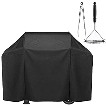QZDG Grill Cover for Weber Genesis E and S Series 7553 | 7107 Gas Grill Cover Heavy Duty Waterproof 60 inch Includes Grill Brush and Grill Tong UV Resistant BBQ Cover for Char-Broil 4 Burner