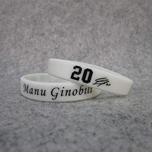 XIXI Manu Spurs 20 Basketball-Star Ginobili Unterschrift leuchtende Hand Ring Silikon Sport Armband (Color : White, Size : 17CM)