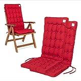 HAVE A SEAT Luxury   Gartenstuhlauflagen - Bequeme Hochlehner Polster Auflage, waschbar bei 95°C, Trockner geeignet, Sitzauflage für Gartenstuhl (2er Set - 120x48x8 cm, Rot)