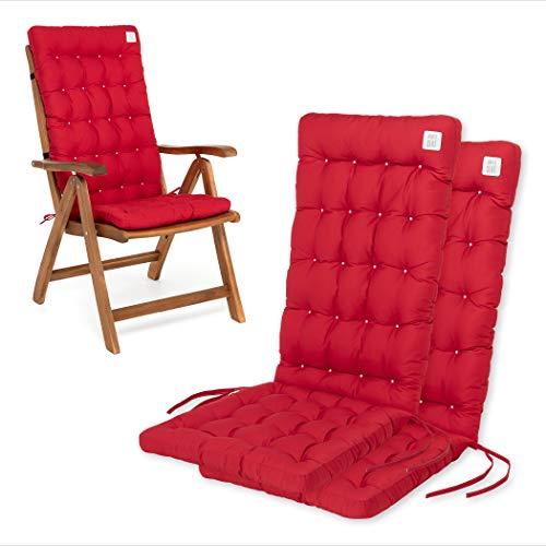 HAVE A SEAT Luxury | Gartenstuhlauflagen - Bequeme Hochlehner Polster Auflage, waschbar bei 95°C, Trockner geeignet, Sitzauflage für Gartenstuhl (2er Set - 120x48x8 cm, Rot)