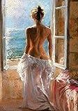 AJleil DIY Pintar por números Pintura Mujer Desnuda de pie en la Ventana Mirando el mar Pintar por numeros Personalizado con Pincel y Pintura acrílica Pintura al óleo40x60cm(Sin Marco)