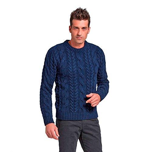 Pullovers heren trui met ronde hals in kasjmier mix wol kleur marine blauw navy