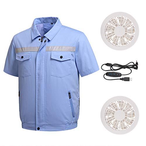 RENDONG Klimaanlage Kleidung Mit Kühlventilator T-Shirts Outdoor Arbeitskleidung Reißverschluss Kurzarmjacke Für Camping Reise Radfahren Arbeits Angeln,Blau,XL