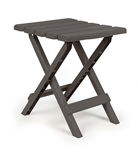 Camco 51881 Adirondack Portable Outdoor Folding Side Table, Perfect for The Beach, Camping, Picnics, Cookouts & More, Weatherproof & Rust Resistant - Charcoal