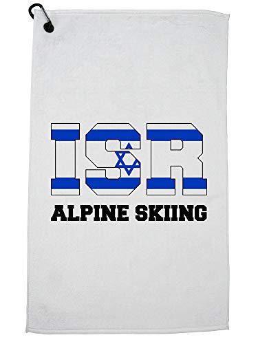 Hollywood Thread Israëlische Alpen Skiën - Winter Olympische -ISR Vlag Golf Handdoek met Karabijnhaak Clip