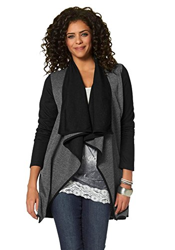 Boysen's Damen Longstrickjacke Cardigan Strickjacke (42 (M), Grau)