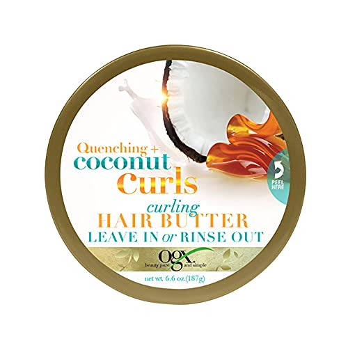 OGX Quenching + Coconut Curls Curling Hair Butter, Deep Moisture Leave-In Hair Mask & Treatment with Coconut Oil, Citrus Oil & Honey, Paraben-Free and Sulfated-Surfactants Free, 6.6 oz
