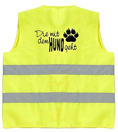 Hundesport Warnweste | Die mit dem Hund geht | Gelb | Brust- und Rückendruck | Größe S/M