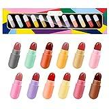 KISSIO Lipstick Set 12 Colors,Mini Matte Lipstick,Lip Capsules,Waterproof Long Lasting Mini Capsules Lipstick,0.42 Oz