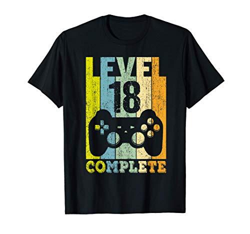 18 Años Cumpleaños Hombre Chica Divertido Regalo Level 18 Camiseta
