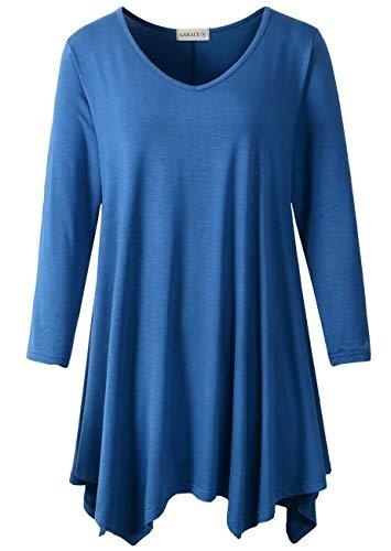 LARACE Plus Size Tunic Tops for Women Asymmetrical 3/4 Sleeve Shirts V Neck Flowy Blouse for Leggings, Steel Blue M