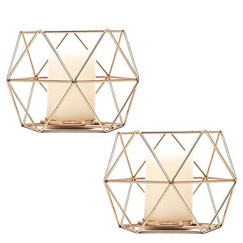 JUNGEN 2er Set Kerzenständer Schmiedeeisen Kerzenhalter Metall Vintage 3D Geometrische Kerzenständer Teelichthalter Deko Tischdeko für Hochzeit Weihnachten Geburtstag, 13 × 10 cm(Gold)