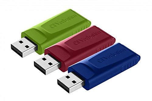Verbatim Slider Confezione multipla chiavette USB 16GB I USB 2.0 I 3 memorie USB I Laptop Notebook Ultrabook TV Autoradio I Penna USB 2.0 I Pendrive con funzione rilascio I Rosso Blu Verde