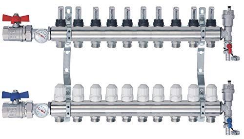 Heizkreisverteiler m Topmeter Flussmesser Kugelhähne Thermometer NORDIC- 10 Heizkreise