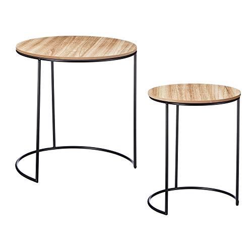Cepewa Beistelltisch 2er Set Couchtisch im Industrie Design aus Metall mit Holz Tischplatten 35cm / 40cm / 45cm