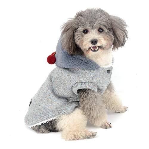 Zunea Pullover pour Petit Chien Chats Manteau d'hiver en Polaire tricotée Sweats à Capuche Chaud Vêtements pour Animaux Chihuahua Yorkshire Puppia Gris L