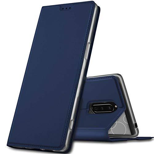 Verco Handyhülle für Xperia 1, Premium Handy Flip Cover für Sony Xperia 1 Hülle [integr. Magnet] Book Hülle PU Leder Tasche, Blau
