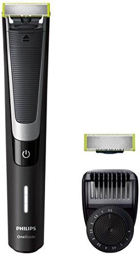 Philips OneBlade Pro Bartschneider, wiederaufladbar, mit Kamm Vorderseite (QP6510/30 + Ersatzblatt) Peine de precisión 12 longitudes Schwarz