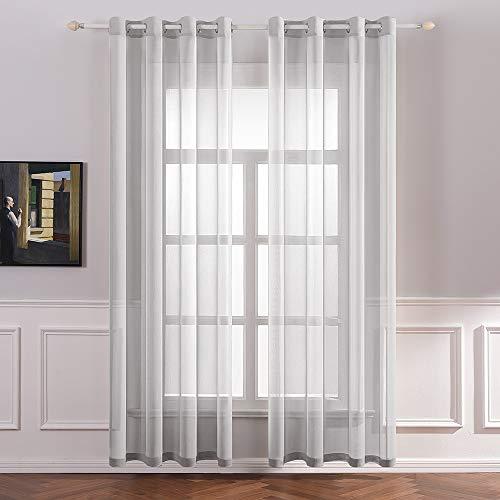 MIULEE 2er Set Sheer Voile Vorhang mit Ösen Transparente Gardine aus Voile Polyester Ösenschal Transparent Wohnzimmer Luftig Dekoschal für Schlafzimmer 140 X 225 cm (B x H), Rod Pocket Grau