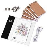 Aibecy Kit de libro plegable con mini almohadilla de luz Caja de luz LED Diseño de tableta con orificio 300 hojas Flipbook Tornillos de fijación de papel para trazado de dibujo Animación Boceto