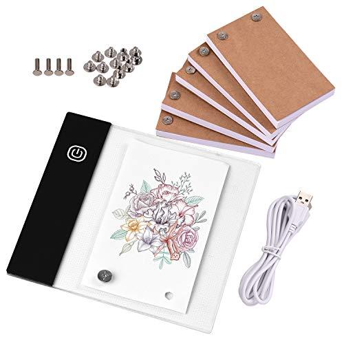 Topuality Kit de libro abatible con mini almohadilla de luz Caja de luz LED Diseño de tableta con orificio 300 hojas Flipbook Papel Tornillos de unión para trazado dibujo Animación Boceto Creación