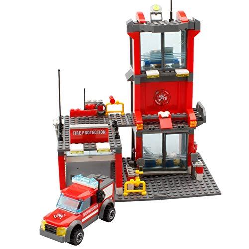 Bloques de construcción 300 Uds, Bloques De Construcción Modelo De Estación De Bomberos De La Ciudad, Construcción Compatible, Bombero, Camión, Iluminador, Ladrillos, Juguetes Para Niños