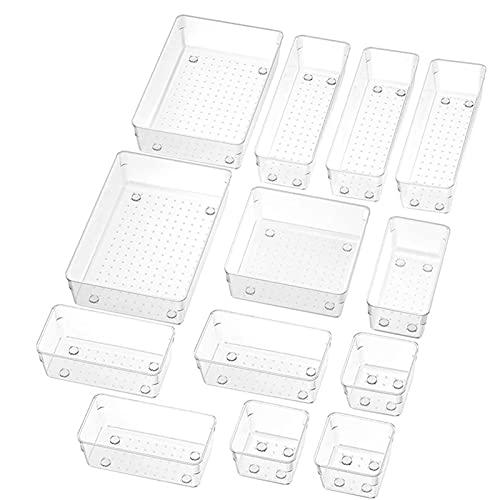 Caja de almacenamiento de cajones transparente, organizador de nevera, pies de goma, caja de almacenamiento multifunción, gabinete de almacenamiento