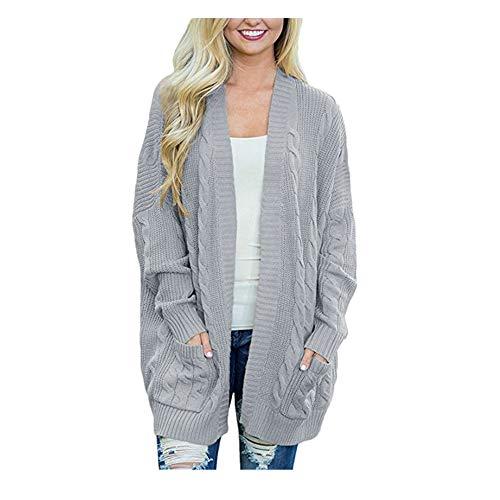 Vordertasche öffnen Strickjacke Damen Winter Solid Langarm Pullover Mantel