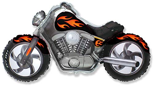 Ballonim® Motorrad Schwarz / Orange ca. 80cm Luftballons Folienballon Party DekorationGeburtstag