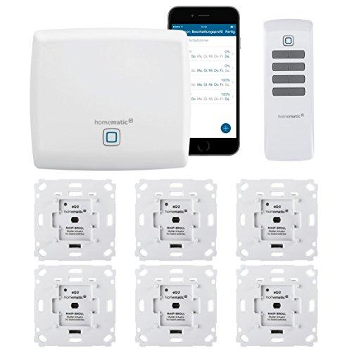 Homematic IP Funk Rolladensteuerung Set mit Fernbedienung und gratis Smartphone App zur Automatisierung der Rolladen. Beinhaltet: Zentrale, 6 Rolladenaktoren, 1 Fernbedienung. Ideal zum Nachrüsten.