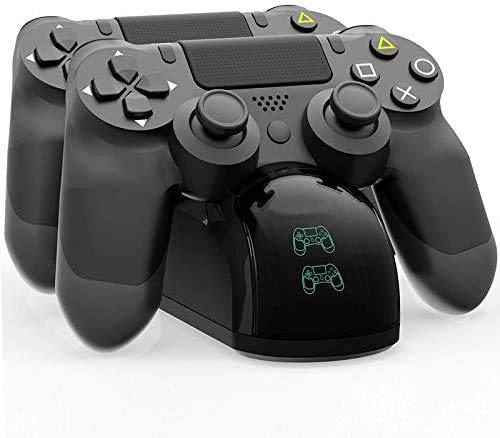 Cargador Controlador Mando PS4, Ausein Estación de carga Dual Shock 4,para Sony Playstation 4/PS4/PS4 Slim/PS4 Pro controlador con 4 empuñaduras de pulgar